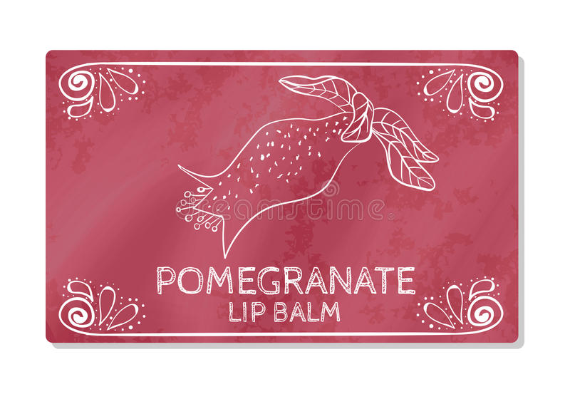 Colorful textured label, sticker for cosmetic products. The packaging design of the lipstick with the taste of pomegranate. Vector. Illustration stock illustration
