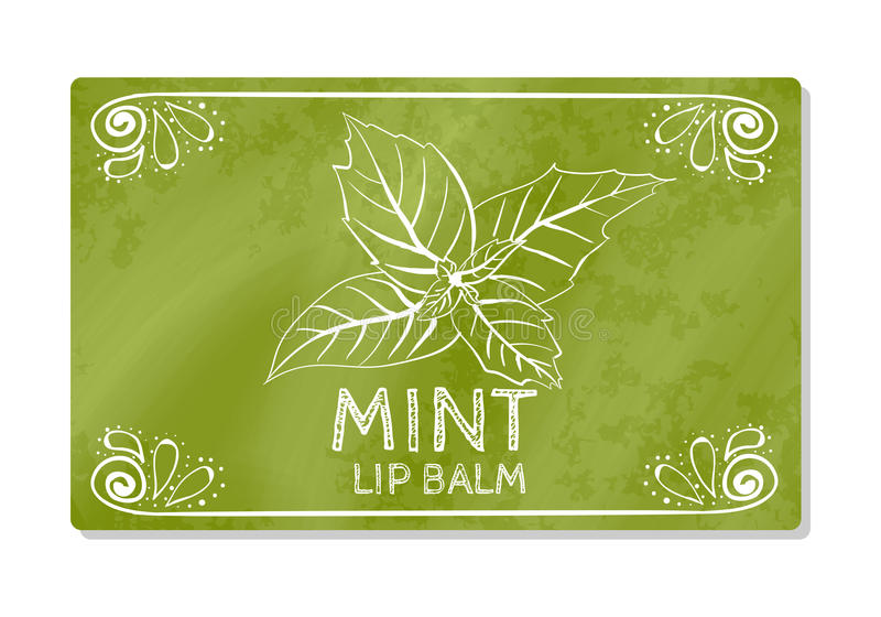 Colorful textured label, sticker for cosmetic products. The packaging design of the lipstick with the taste of refreshing mint. Ve. Ctor illustration royalty free illustration