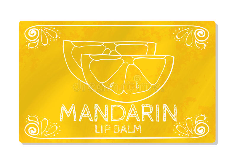 Colorful textured label, sticker for cosmetic products. The packaging design of the lipstick with the taste of sweet citrus fruit. Tangerine. Vector stock illustration