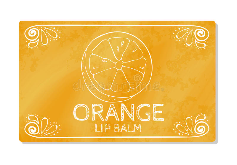 Colorful textured label, sticker for cosmetic products. Packaging design lipstick the taste of sweet orange. Vector. Illustration vector illustration