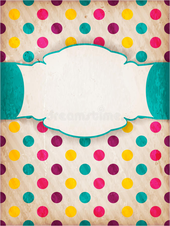 Colorful textured polka dot design with label royalty free illustration