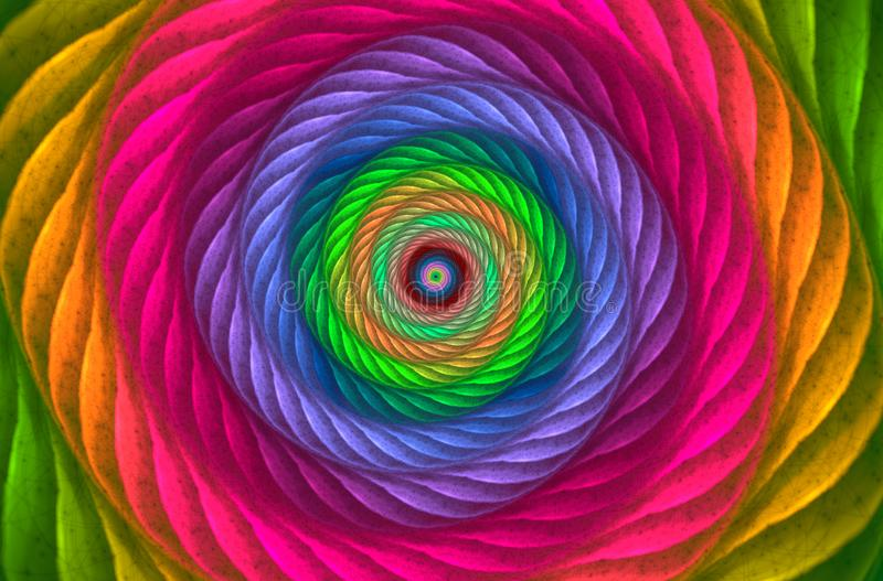 Colorful textured spiral vortex. Abstract multicolored background royalty free illustration