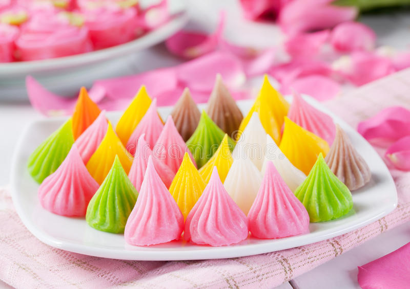 Colorful thai dessert. Traditional colorful thai dessert close up stock images