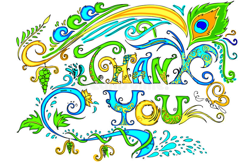 Colorful Thank You Card stock illustration