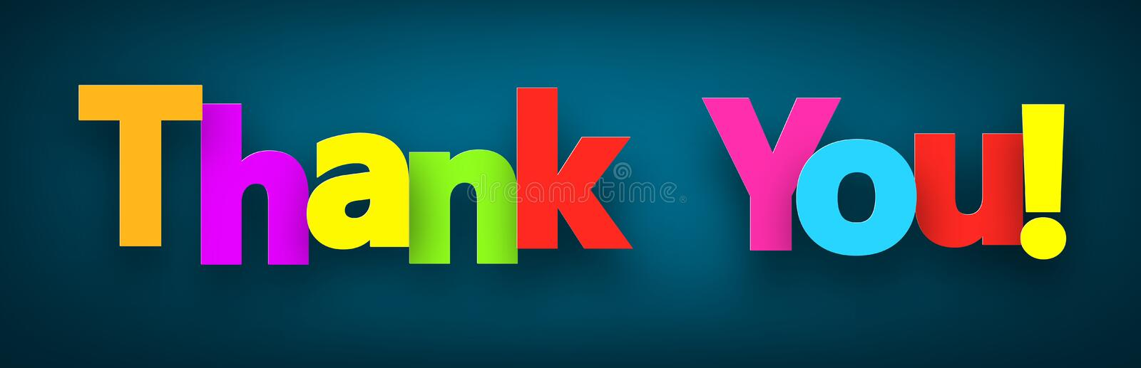 Paper thank you sign. stock illustration