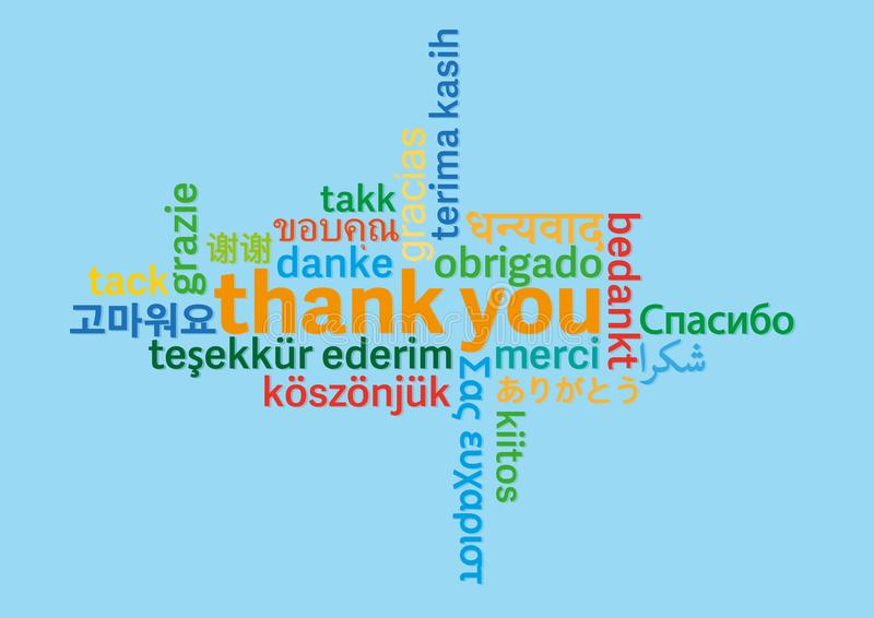 Colorful thank you word cloud in different languages on blue background royalty free illustration
