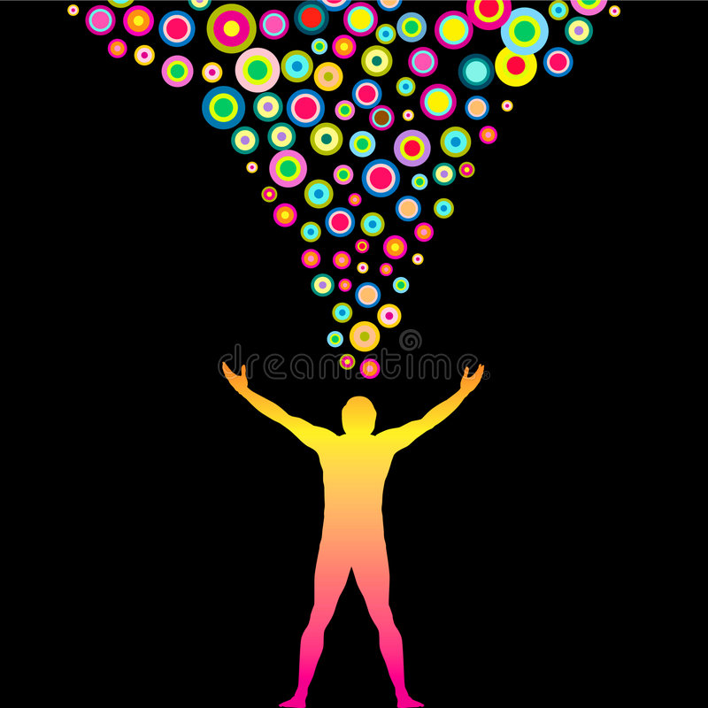 Colorful Thoughts. Illustration of a man with outstretched arms radiating colorful thoughts stock illustration