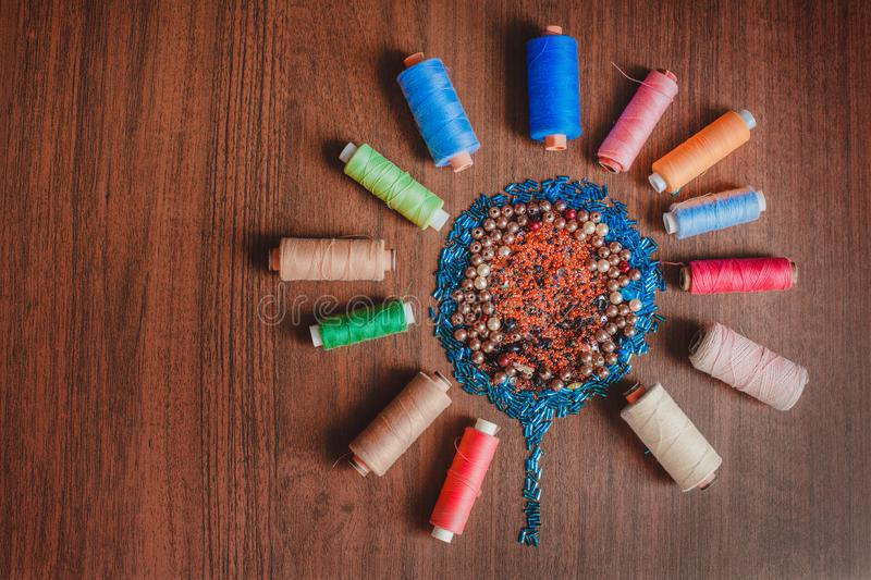 Colorful thread and bead royalty free stock images