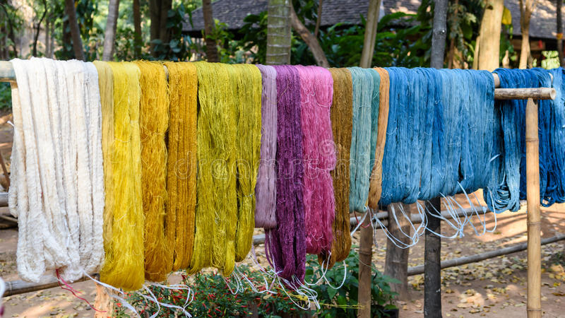 Colorful thread raw silk cloth royalty free stock photography