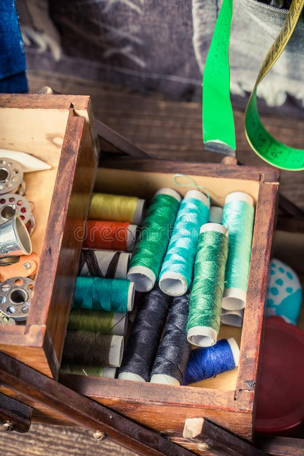 Free Colorful Threads And Needles Vintage Wooden Box Stock Images - 162726514