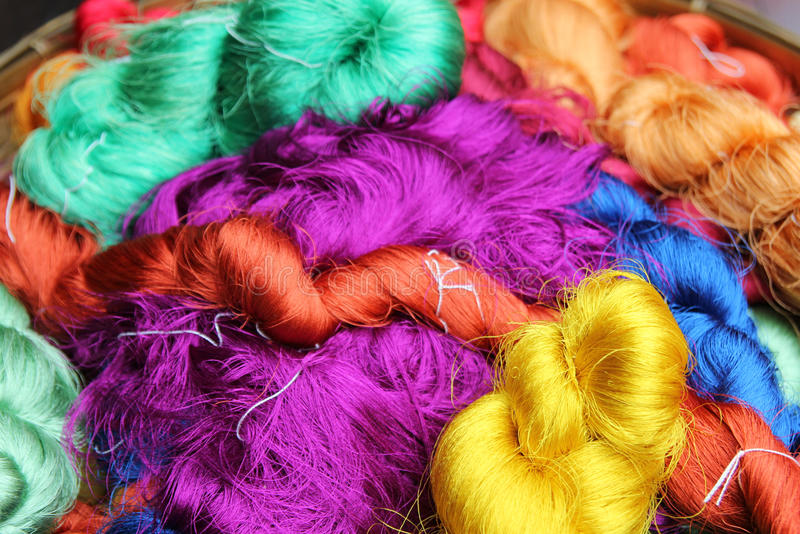 Colorful threads of Thai silk closeup for background. stock image