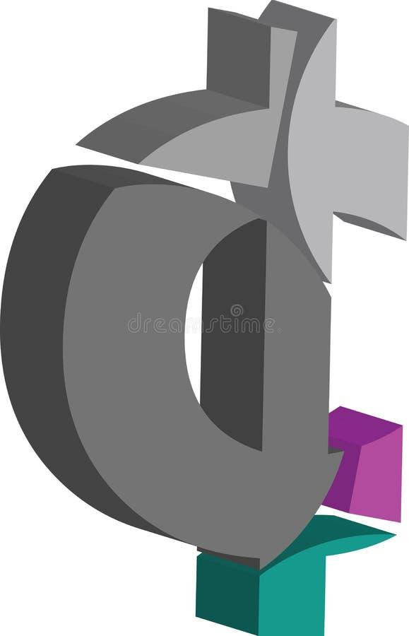 3d CENT symbol. Colorful three-dimensional CENT Symbol royalty free illustration