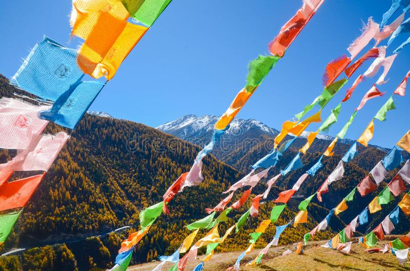 Colorful tibetan flags and snow mountain at Siguniang scenic area in China. Colorful tibetan flags and snow mountain at Siguniang scenic area in autumn season stock image