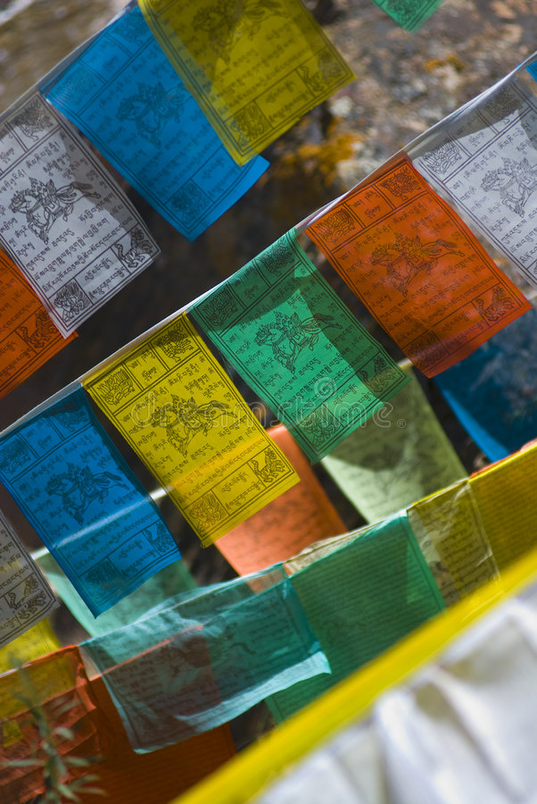 Colorful Tibetan prayer flags royalty free stock photo