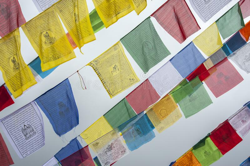 Colorful Tibetan prayer flags at Boudhanath also called Boudha, Bouddhanath or Baudhanath which is a buddhist stupa in Kathmandu. Nepal - UNESCO World Heritage royalty free stock photo
