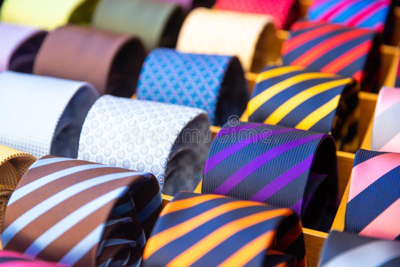 Colorful tie set collection in men shop. Texture line and dot royalty free stock photos