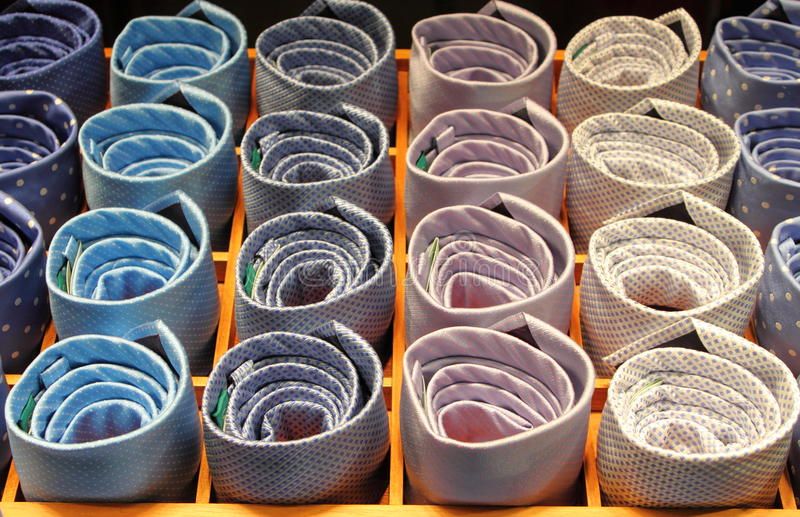 Colorful ties in a tray stock photo