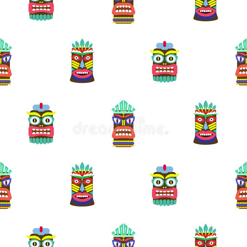 Colorful tiki mask seamless pattern vector. Hawaiian culture white texture background stock illustration