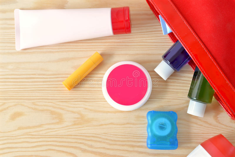 Colorful toiletries. On the cupboard stock images