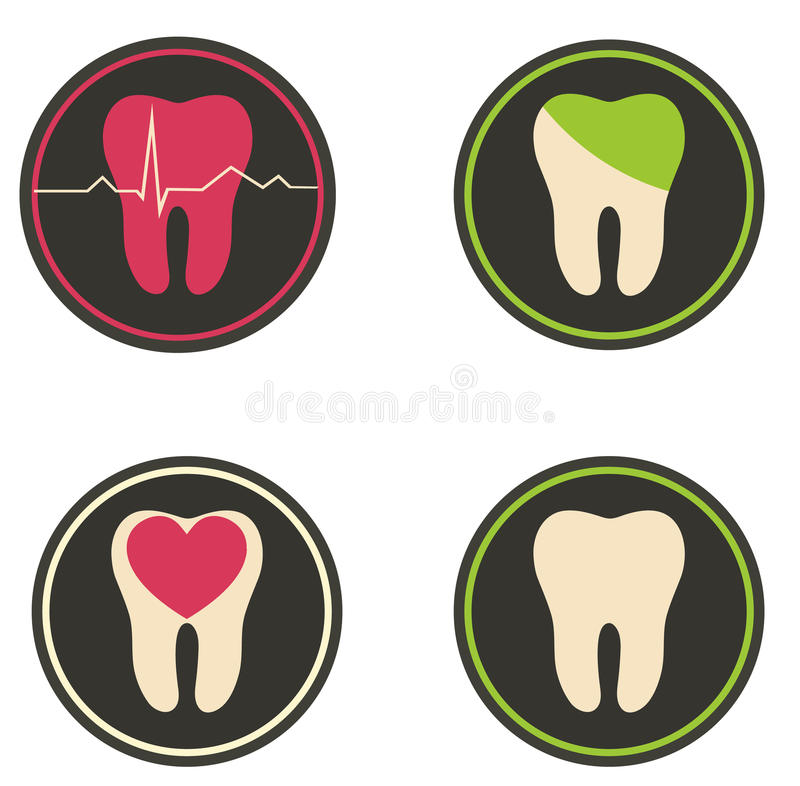 Colorful tooth illustrations royalty free illustration
