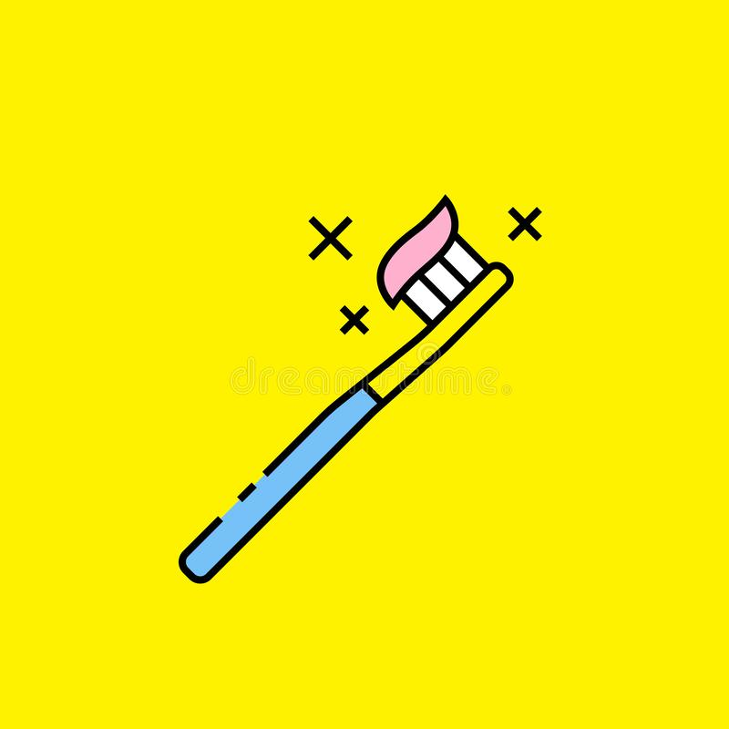 Colorful toothbrush line icon. Simple brush with pink toothpaste symbol isolated on yellow background. Oral kids dental care graphic. Vector illustration royalty free illustration