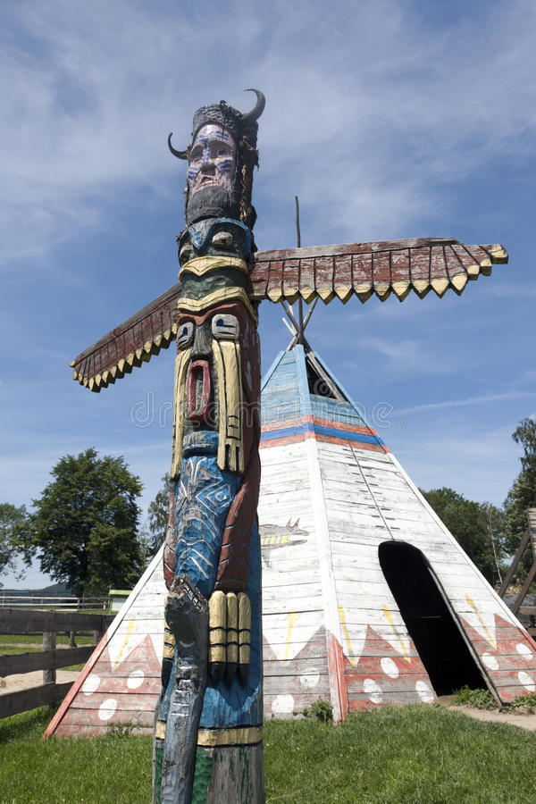 A colorful totem pole stock photo