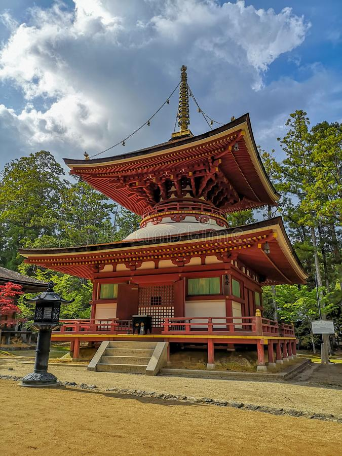 The colorful Toto Pagoda or Eastern Pagoda in the Unesco listed Danjon Garan Shingon buddhism temple complex in Koyasan, Wakayama. Japan stock image