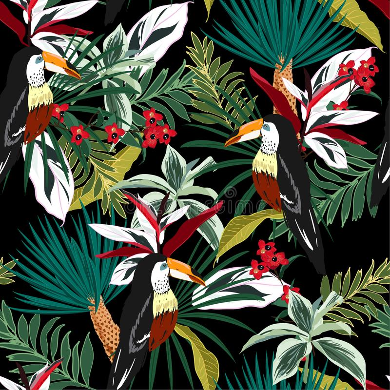 Colorful Toucan, exotic birds, tropical flowers, palm leaves, jungle leaf, wild flower seamless vector floral pattern. Tropical f. Dark Tropical forest Colorful stock illustration