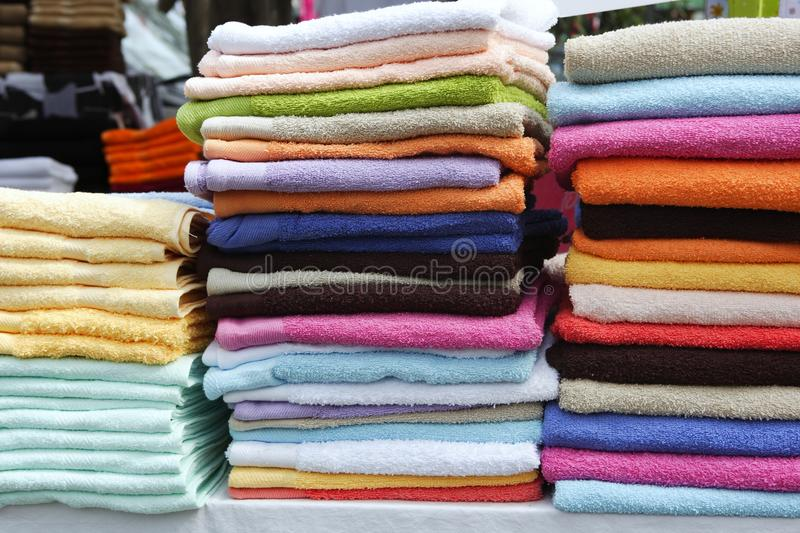 Download Colorful Towel Stacked Rows In Market Stock Image - Image: 15245461