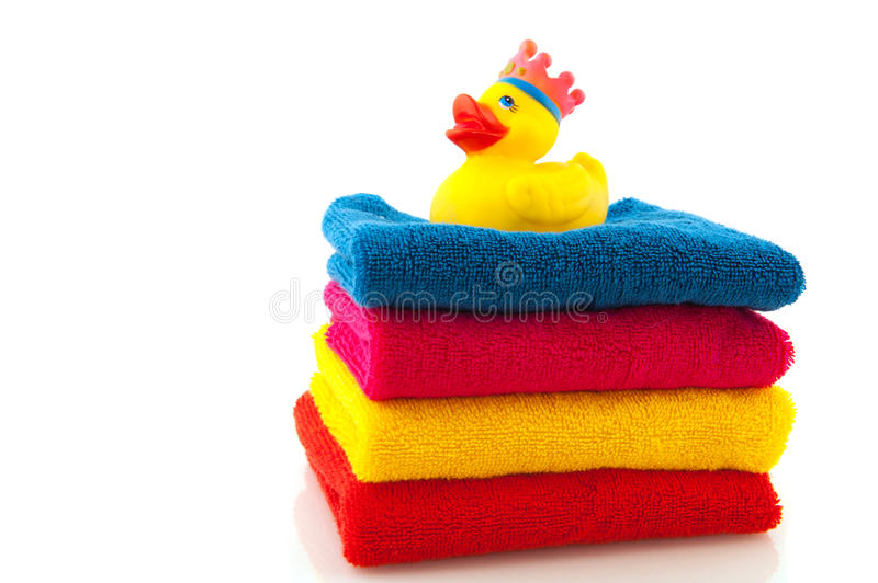 Download Colorful Towels With Bath Duck Stock Photo - Image: 15915116