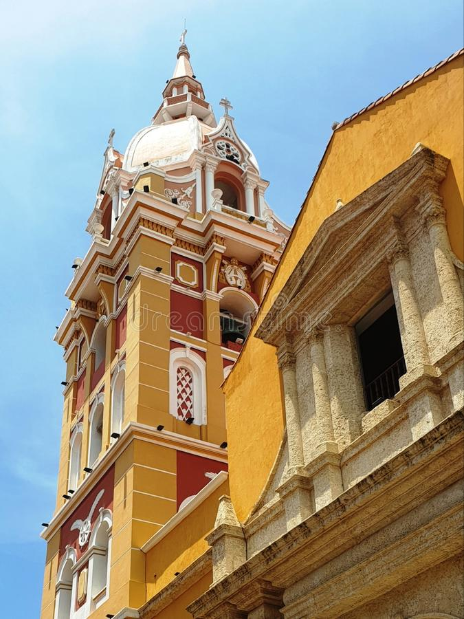 Colorful Tower of the Cathedral, Cartagena, Colombia stock photo