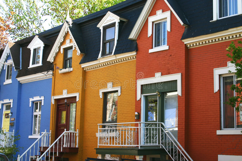 Colorful townhouses. Colorful blue, yellow, and red townhouses