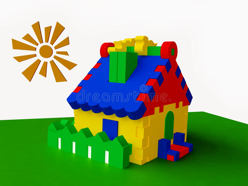 Colorful Toy Cottage. Funny Colorful Toy Cottage in 3D royalty free illustration