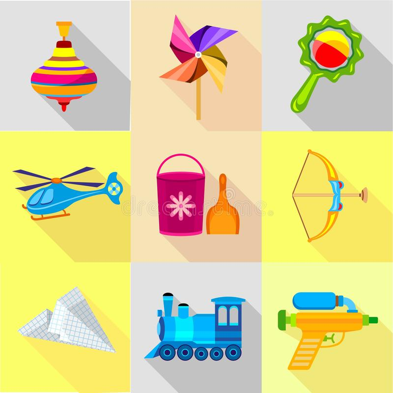 Colorful toy icons set, cartoon style. Colorful toy icons set. Cartoon set of 9 colorful toy vector icons for web isolated on white background royalty free illustration