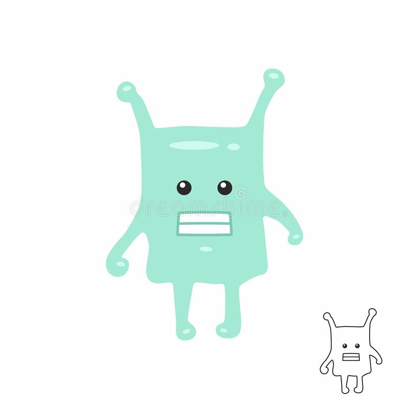 Cute Green Cartoon Monster Stock Vector Illustration Of Happy