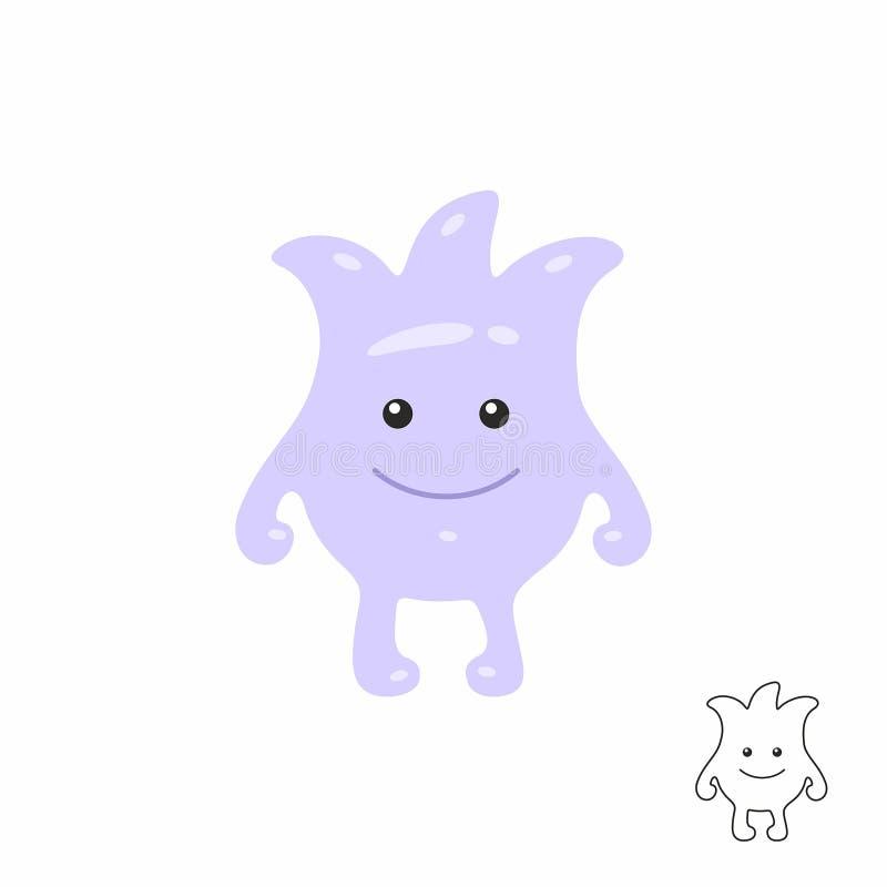 Cute Purple Cartoon Monster Stock Vector Illustration Of Blue