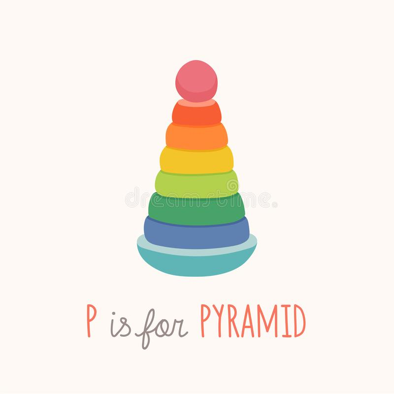 Colorful toy pyramid. ABC letter P poster. P is for pyramid. Toy Alphabet Card. Nursery alphabet poster wall art. Flashcard. Cartoon vector eps 10 illustration vector illustration