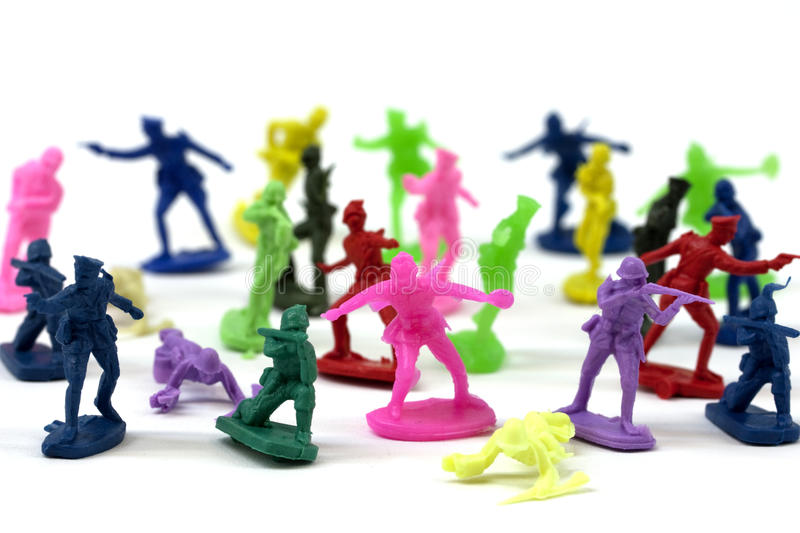 Colorful toy soldiers royalty free stock photo