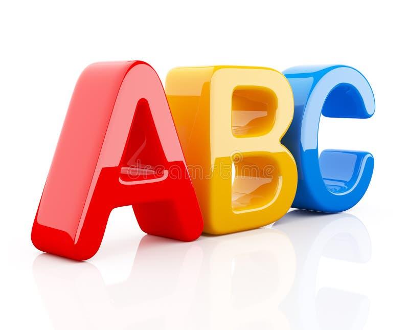Colorful toy symbols heap of alphabet 3D stock illustration