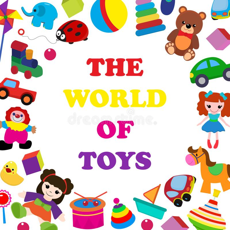 Colorful toys in cartoon style for kids banner vector illustration. Childish design with doll, duck, elephant, boat stock illustration