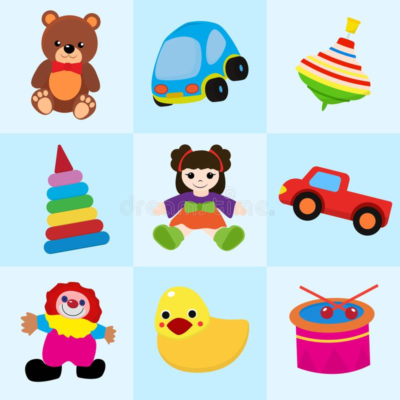 Colorful toys in cartoon style for kids seamless pattern vector illustration. Childish design with doll, duck, clown. Bear, truck,drum, stacking toy for vector illustration