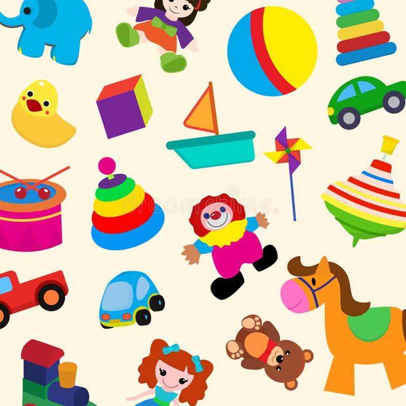 Colorful toys in cartoon style for kids seamless pattern vector illustration. Childish design with doll, duck, elephant. Boat, ball, horse, clown, truck, train stock illustration