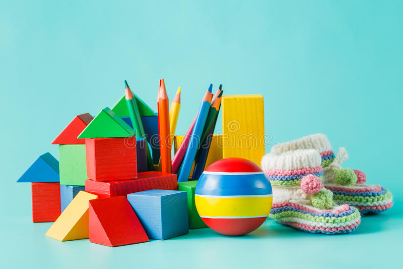 Colorful Toys Collection on aquamarine royalty free stock photography