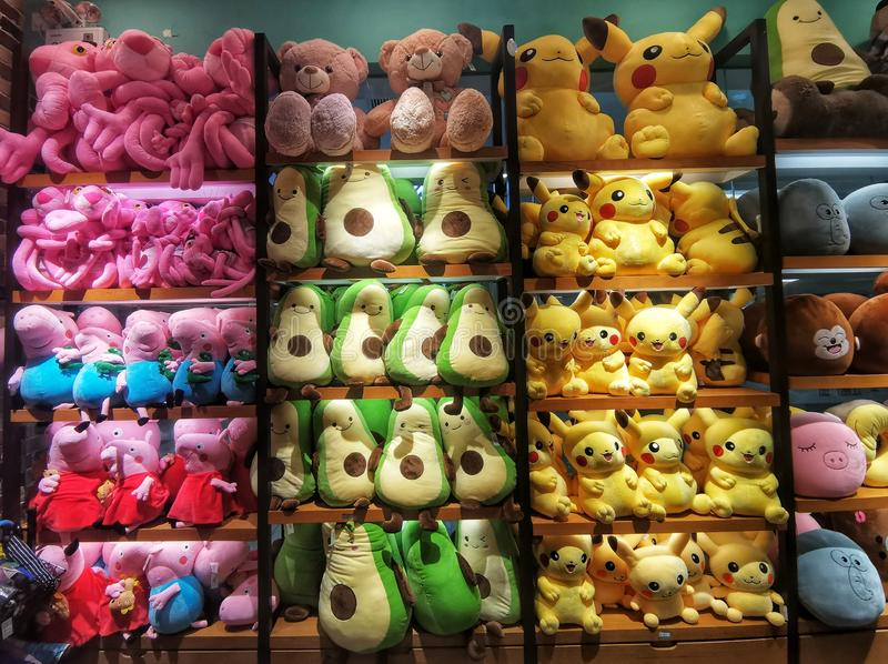 Colorful toys displayed at a home shop in Wuhan city stock images