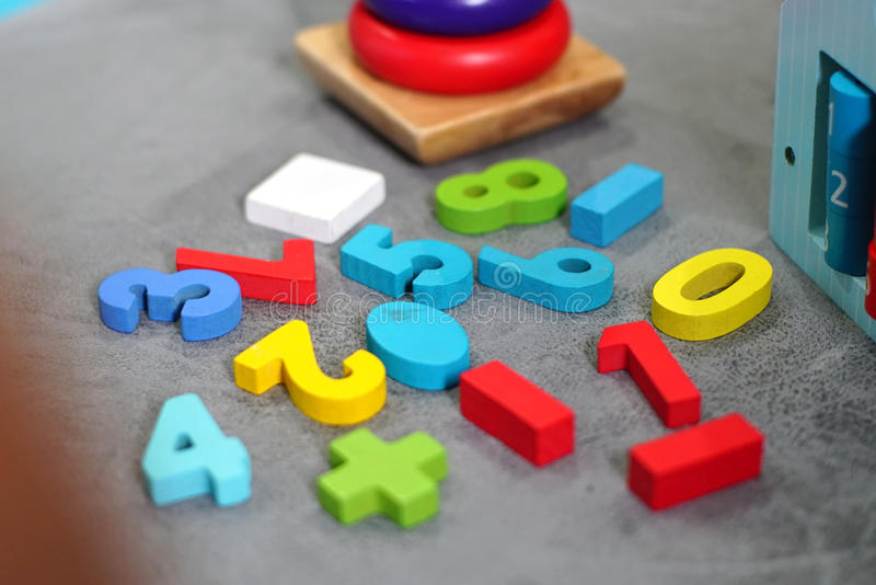 Colorful toys in playroom. The Colorful toys in the playroom stock images