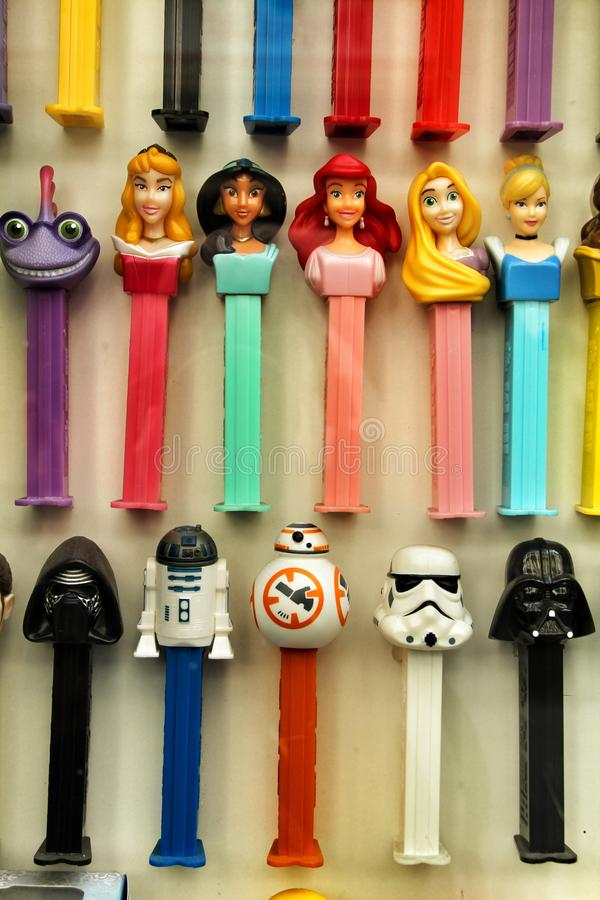 Colorful toys in a showcase royalty free stock photography