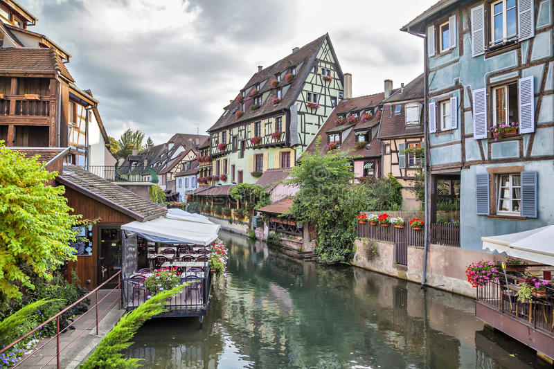 Colorful Traditional French Houses On The Side Of River In Petite Venise Colmar France