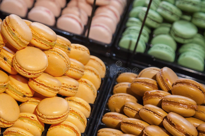 Colorful traditional French macarons stock photos