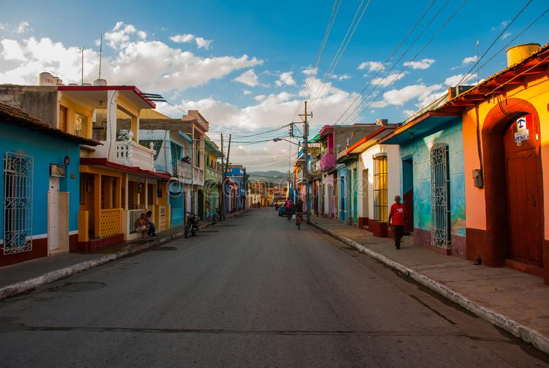 Colorful traditional houses in the colonial town of Trinidad in Cuba stock photography