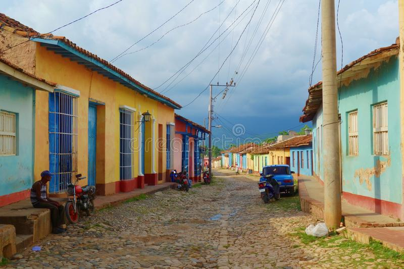 Colorful traditional houses in the colonial town of Trinidad in Cuba, a UNESCO World Heritage site stock photo